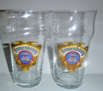 Vintage RARE KRONENBOURG Beer Glass ~ Set of 2 Glasses 12 Ounce