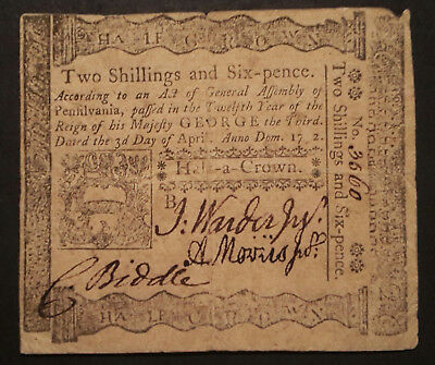 Pennsylvania Colonial Currency Apr. 3,1772 2 Shillings/six Pence #3560 Fr#pa157