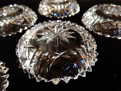 BEAUTIFUL Antique/Vtg Set of 6 Clear Cut Glass Crystal Salt Wells Round 3""