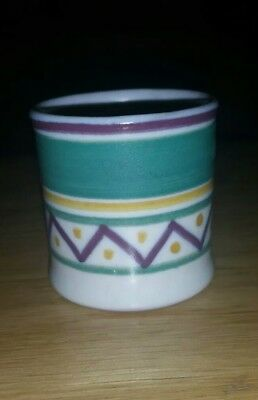 Early Poole Egg Cup Geometric Pattern Monogrammed Hb Earthenware