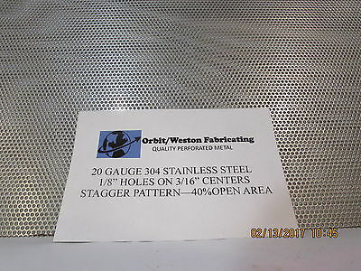 """20 Gauge 1/8"""" Holes 304 Stainless Steel Perforated Sheet  6"""" X 6"""""""