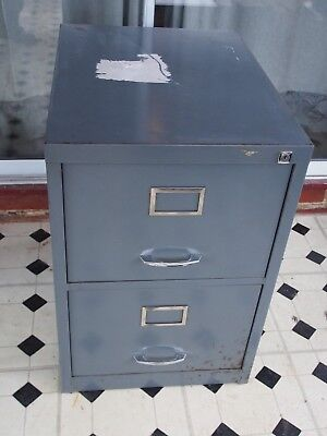 Two drawer steel A4 filing cabinet in grey