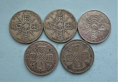 5 English Pre 1947 Silver Florins Two Shillings From 1921 To 1931 Not Scrap