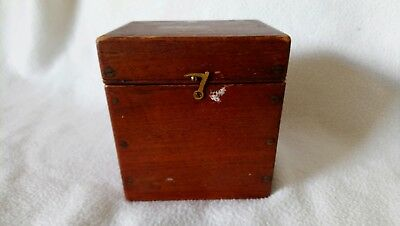 Vintage Small Wooden Box, Hinged and with catch on the Front.