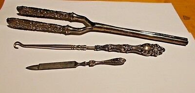 Victorian Button Hook, Sterling Nail File & Hair Crimper