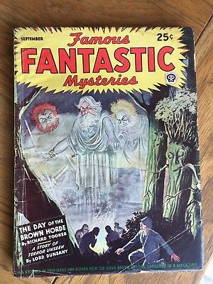 Famous Fantastic Mysteries - US vintage SF Pulp - Sept 1944 - Lord Dunsany etc