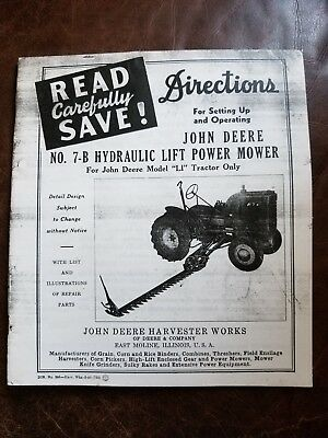 Operator's Manual John Deere No. 7-B Hydraulic Lift Power Mower for LI Tractor