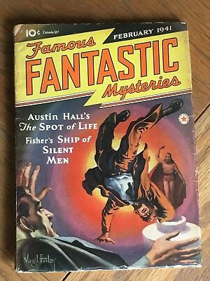 Famous Fantastic Mysteries US vintage SF Pulp - Feb 1941 - Amazing Finlay cover