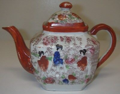 Antique Porcelain Japan Geisha Girl Kimono Lady Ware TEAPOT Hand Painted