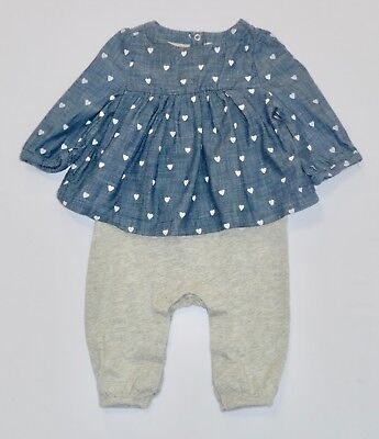 ec9c0862006 Baby Gap Gray Romper w Attached Heart Print Blue Chambray Swing Top