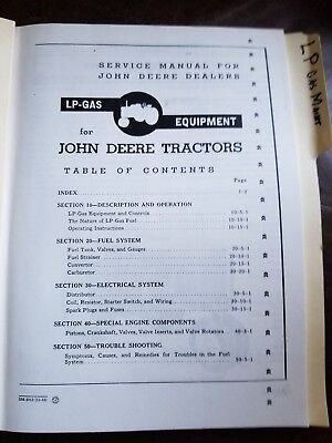 SERVICE MANUAL FOR JOHN DEERE 60 70 Tractors LP-Gas Equipment Repair Propane