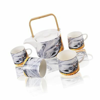 Modern Stylish Porcelain Tea/Coffee Set with Wooden Handle, 5-Piece Teapot and