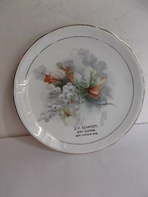 VINTAGE ADVERTISING PLATE  COMPLIMENTS Of  J.F. SCHMIDT  GIVE AWAY