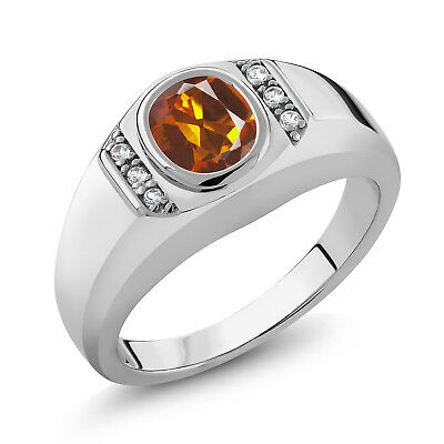 1.16 Ct Orange Red Madeira Citrine White Created Sapphire 925 Silver Men's Ring