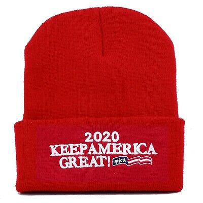 MADE IN USA Exclusive Trump 2020 Keep America Great Beanie-Red