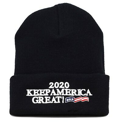 MADE IN USA Exclusive Trump 2020 Keep America Great Beanie-Black