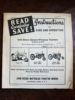 Care & Operation Manual of John Deere General Purpose Tractors B-1000 to B-59999