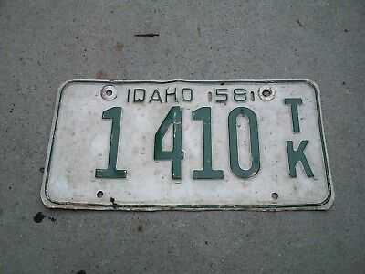 Antique Vintage RARE Nice Dated 1958 Idaho License Plate