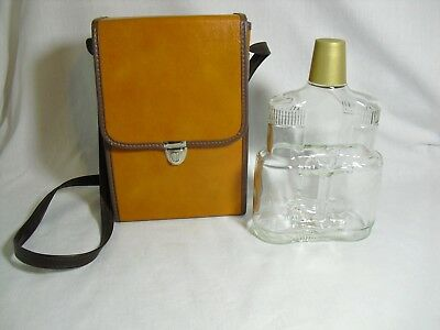 Old Charter Decanter Bourbon bottle Binoculars Leather Case Vintage