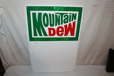 "Vintage 1970's Mountain Dew Soda Pop Gas Station 27"" Embossed Metal Sign"