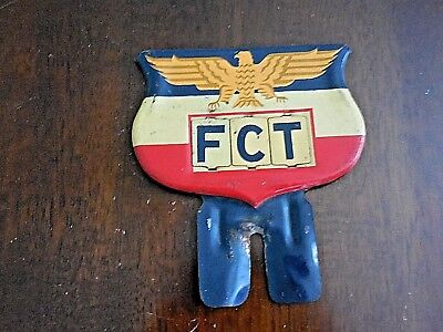 Antique Metal FCT Sign, Attached letters,Eagle, Red, White, Blue