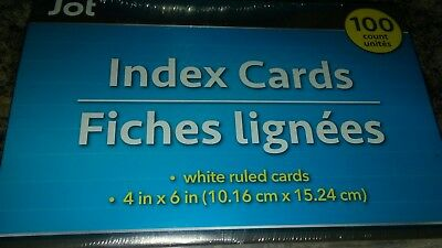 100 ct Lot Jot 4 x 6 inch Office School Ruled White Index Note Cards made in USA