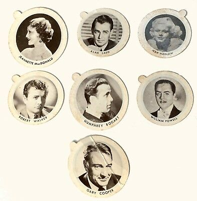 LOT of 7 VINTAGE 1930s MOVIE STAR  DIXIE ICE CREAM CUP LIDS HARLOW, BOGART MORE