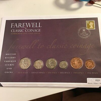 Great Britain UK 'Farewell to Classical Coinage' 1 p to 50 p 6 Coins Cover