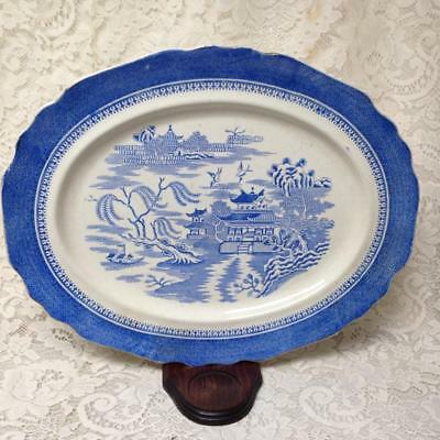 Antique, Rare, Royal Worcester, Blue Willow 17in x 14in Oval Serving Platter
