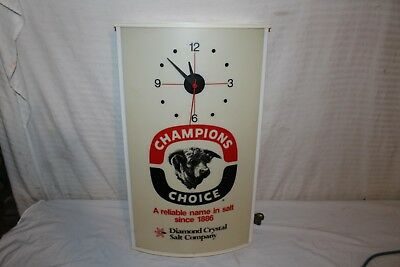 "Vintage Champion Salt Cow Cattle Feed Farm Gas Oil 26"" Lighted Clock Sign~Works"