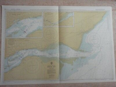 Vintage Scotland River Tay To Perth Marine Sea Chart Nautical Map Design Piece