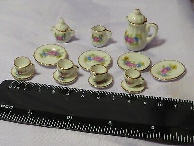 1:12 Scale Ceramic 15 Piece  Floral set Doll House Miniature