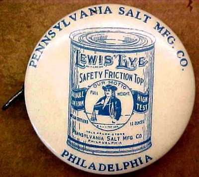 LEWIS LYE Advertising Celluloid Sewing Tape Measure Pat. 1919