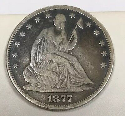 1877 P Seated Silver Half Dollar Better Philadelphia Type Coin