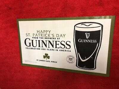 Guinness St Patrick's Day Beer Sign Banner Light Stout Party Garage Man Cave