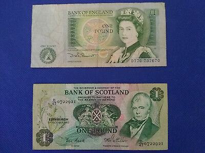 BANK OF ENGLAND AND BANK OF SCOTLAND ONE POUND  World currency