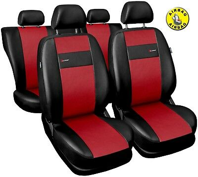 Car seat covers fit Opel Astra G black/red  leatherette full set
