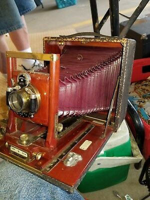 """Seneca Autic 5"""" x 7"""" Plate Camera Maroon Bellows With Wollensak. Lens Working."""