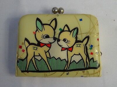 Vintage Children's Wallet Coin Purse Cosmic BAMBI Characters 1950s Retro JAPAN