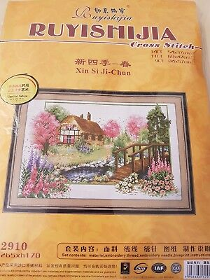 A COUNTRY HOUSE and GARDEN cross stitch kit 14 ct size 54 x 37 cm by RUYISHIJIA