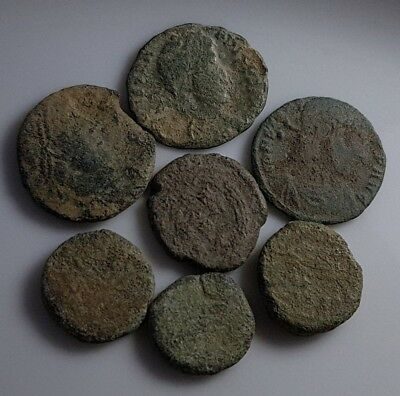 Lot Of 7 Ancient Roman Bronze Coins Constantius