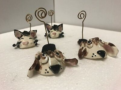WHIMSICLAY Cat And Dog Slipper Photo Holder by Amy Lacombe 2001 Lot Of 4