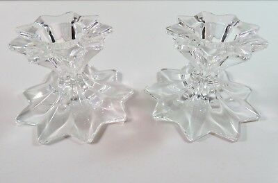 Pair Of Crystal Smaller Star Candlesticks Gently Used.