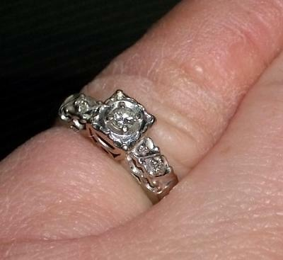 Antique Vintage Art Deco 14K WHITE GOLD & DIAMOND Ring - size 5