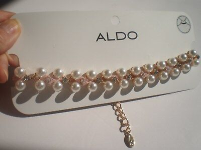 ALDO GOLD TONE FAUX PEARL CHOKER  NECKLACE  with BLING