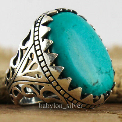 925 Sterling Silver Turquoise Stone Turkish Handmade Luxury Men Ring Size 11 US