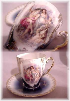 Bavaria Germany Cobalt Flow Blue Nude Lady Cherub Portrait Cup And Saucer (F)
