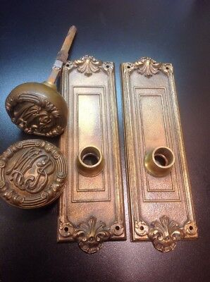 Vintage Chicago McCormick  Building 2 Bronze Door Knobs, 2 Back Plates