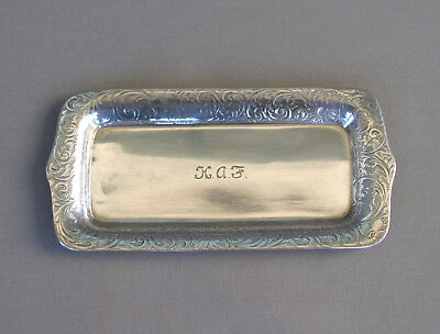 Beautiful Antique Chased Tiffany Sterling Silver Dresser Pin Tray