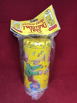 Vintage Schylling Curious George Twisting Tins Nesting NOS